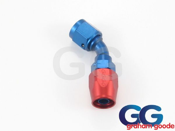 Goodridge 200 Series Dash 12JIC 200.12 Fuel Hose 45Degree Tubular Fitting Blue/Red Anodised 236-4512